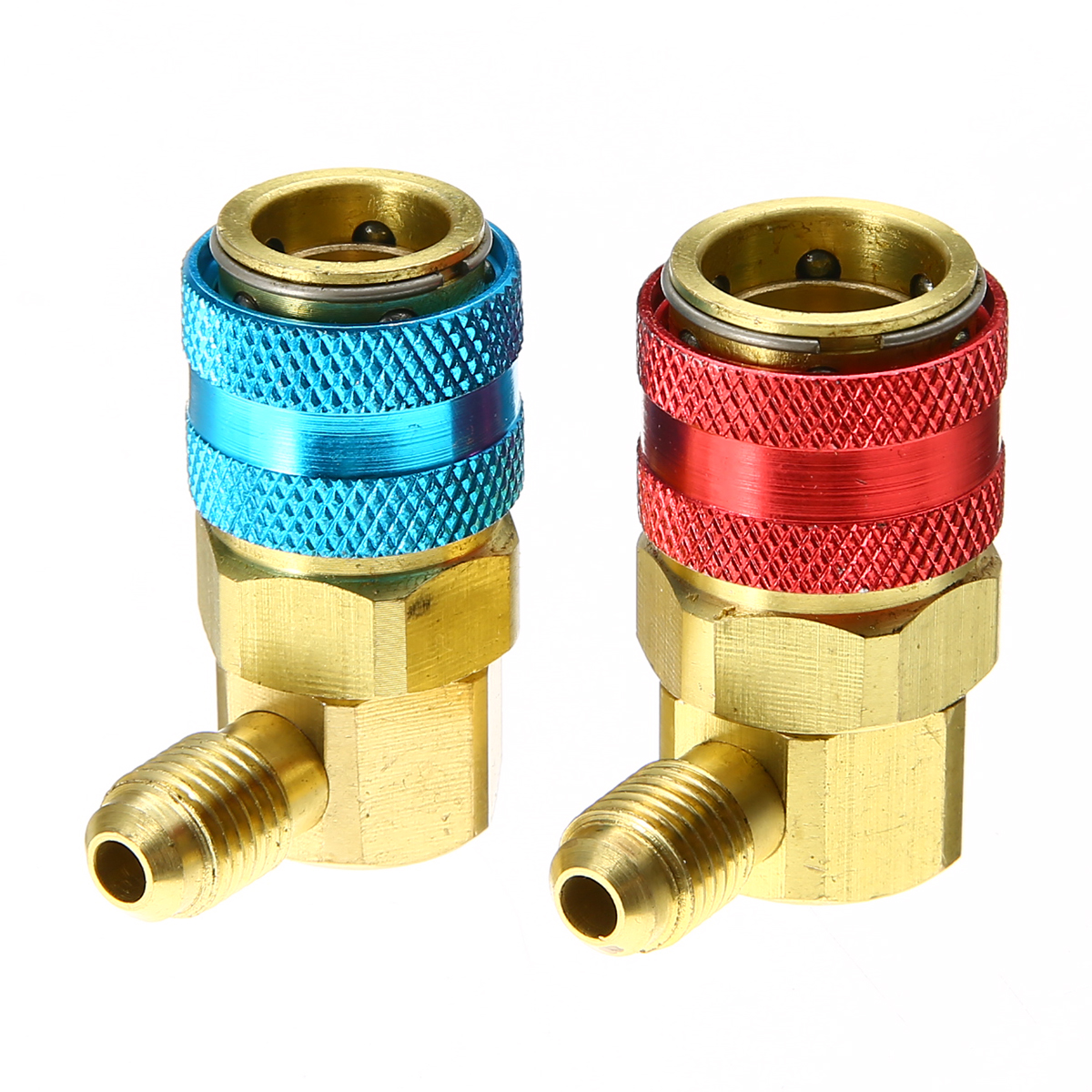 2pcs R134A System Adapters High/Low Quick Couplers 1/4 SAE Male Car Automotive Air Conditioning Quick Connector Adapters Mayitr a c system adjustable air conditioner quick couplers connector burgundy for car