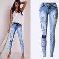 Plus size Women Low Waist Fashion Ripped Slim stretch Pencil Pants Beggar Style Hole Patchwork Distressed JeansDenim Pants