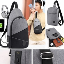 Men's Womens  Side USB Charging Cross-body Chest Bag Pack Single Shoulder Bag US Theft Security Strap Digital Storage Chest Bags men travel chest pack single rucksack england chest bags shoulder cross body bag external usb charge backpack women bag pack