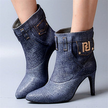 New Fashion Women Denim Ankle Boots Pointed Toe Short Booties High Heels Women Pumps Botines Mujer Blue Botas Militares