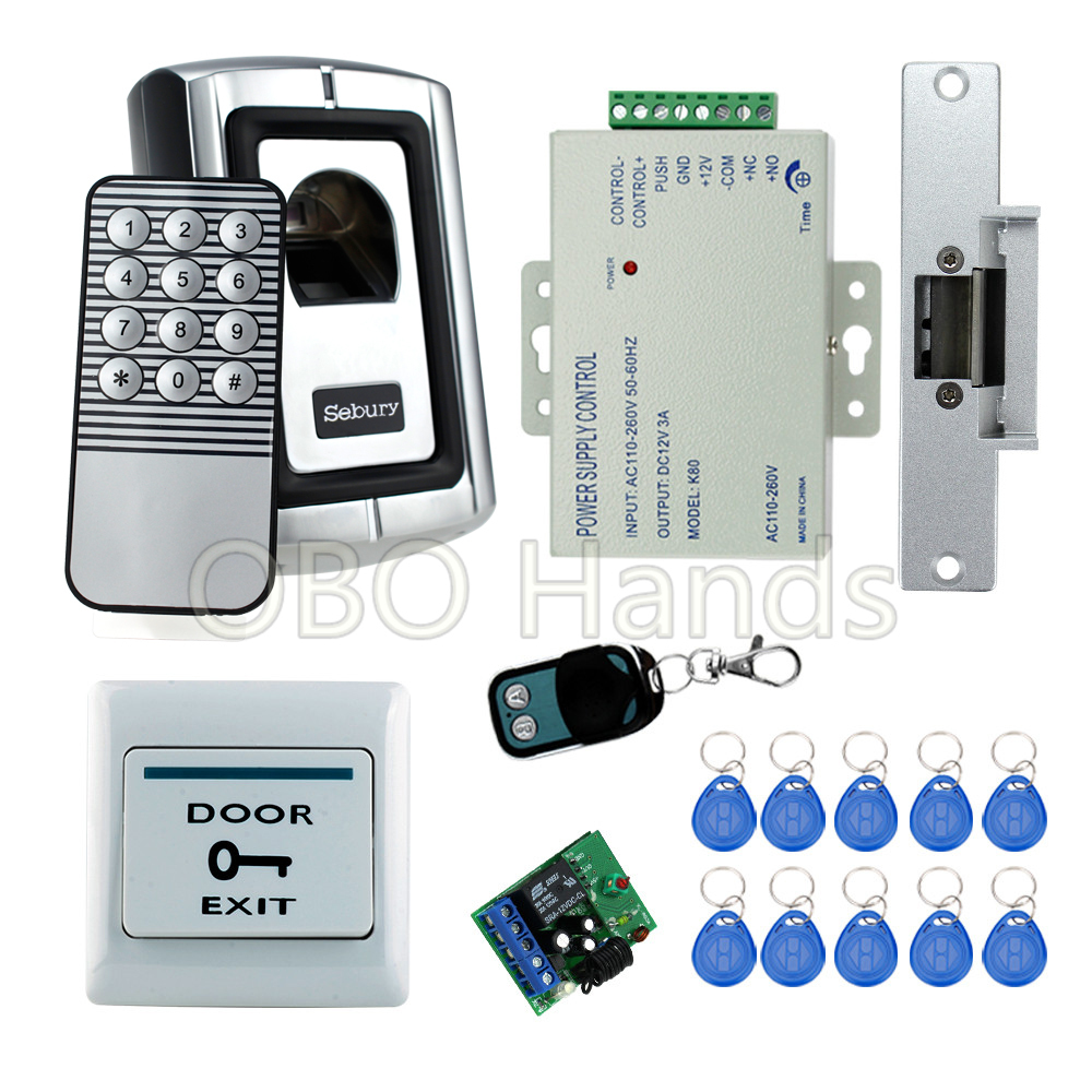 Biometric fingerprint door lock access control code Reader F007EM+180KG magnetic lock+power supply+exit button+remote control fs28 biometric fingerprint access control machine electric reader scanner sensor code system for door lock