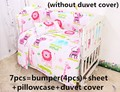 Discount! 6/7pcs baby cradle bedding set reactive printing quilt cover sheet and bumpers ,120*60/120*70cm
