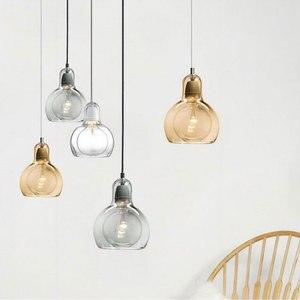 Image 1 - Современный Креативный простой подвесной светильник для столовой, магазина одежды, стеклянная Подвесная лампа в цветочек, E27, декоративная светильник ПА накаливания