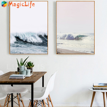 Nordic Black White Wall Art Ocean Wave Beach Canvas Painting Poster Pictures  for Living Room Unframed