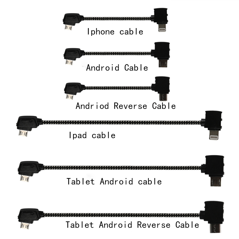 Remote Control Data Cable Connecting Phone Tablet Connector Line Nylon Line 207mm For DJI Mavic Pro Drone Accessories