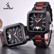 ボボ鳥高級ブランドのメンズファッションレトロカラーコンビネーション木製腕時計erkek kol saati K R08 カスタマイズとdropshipp