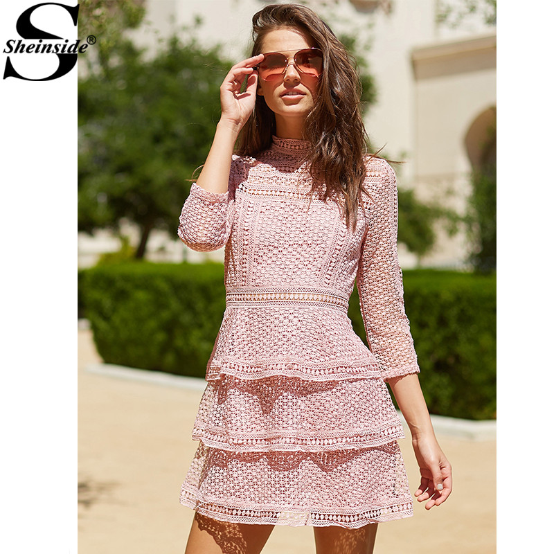 Sheinside Pink Lace Dress Vintage Crochet Party Dress Women High Neck 3/4 Sleeve Layered Dotted Dresses Sexy Autumn Mini Dress