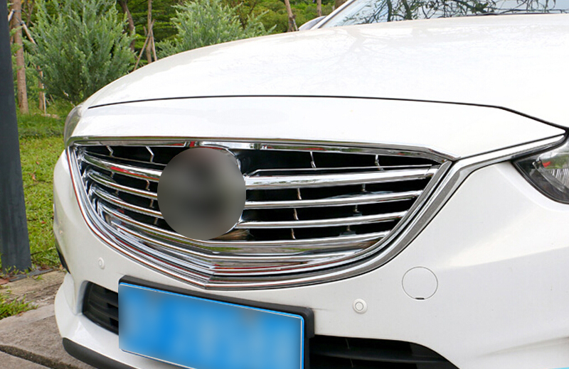 Chrome Front Grill Grille Central frame Cover protector 1pcs For Mazda Atenza / M6 m 6 2013 2014 2015 1pc chrome abs head front center grill grille bumper trim cover for mazda 6 m6 atenza 2014 2015