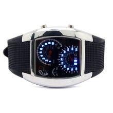 2017 Creative LED Luminous Mens Watches Blue & White Digital Speedometer Dot Matrix Boys Sport Rubber Band Relogio Masculino NEW
