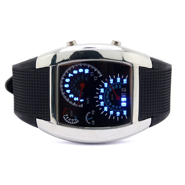 2017 Creative LED Luminous Mens Watches Blue & White Digital Speedometer Dot Matrix Boys Sport Rubber Band Relogio Masculino NEW