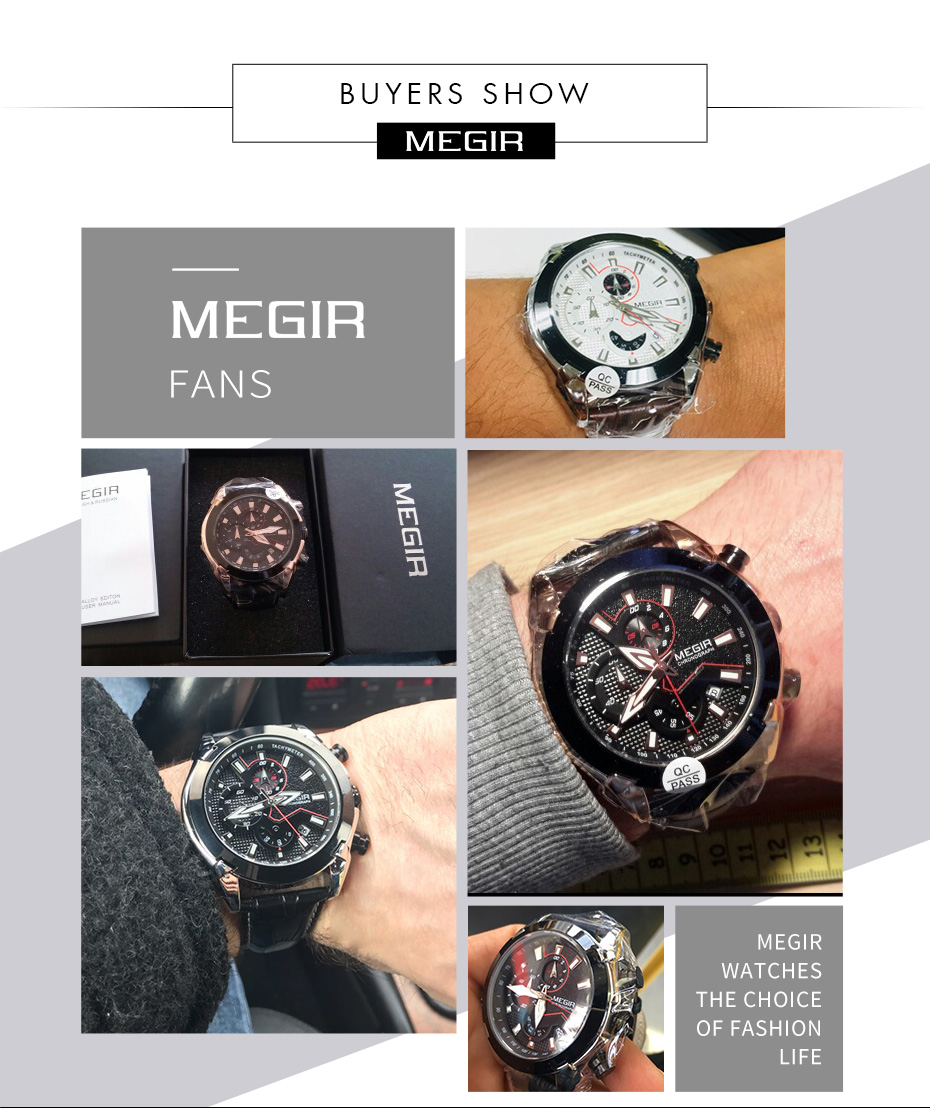 Topdudes.com - MEGIR Luxury Creative Chronograph Leather Army Sports Watch