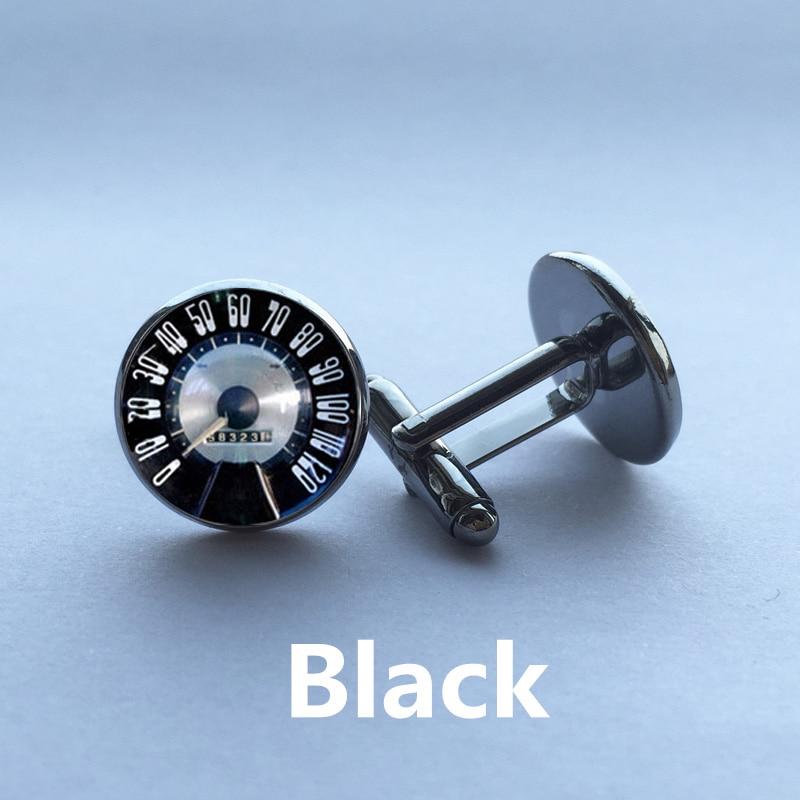 1 pair Free Shipping Glass Cufflinks Speedometer Cufflinks Retro Vintage Car Speedtest cuff link sliver black round cufflinks