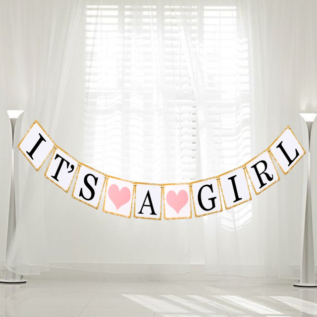 Iridescent Paper Photo Props Girl Boy Baby Shower Banner Its A Boy Girl Bunting Garland Rustic Chic Party Hanging Decoration