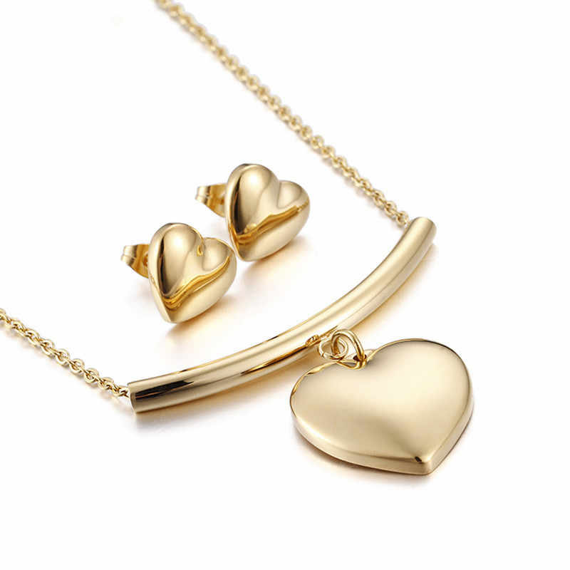 Romantic Necklace Earrings Set For Women Stainless Steel Gold Color Heart Pendant Necklace & Earrings Jewelry Set