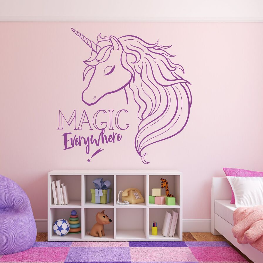 US $7.33 25% OFF|Magic Unicorn Vinyl Wall Sticker Girls Bedroom Wall Decal  Magic Everywhere Quote Wallpaper Home Decoration Vinyl Wall Art AY1764-in  ...