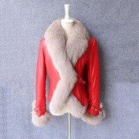 2017 véritable peau de mouton veste en cuir avec col fourrure de renard femme hiver vêtement vêtements court conception mince manteau bateau libre CW2025