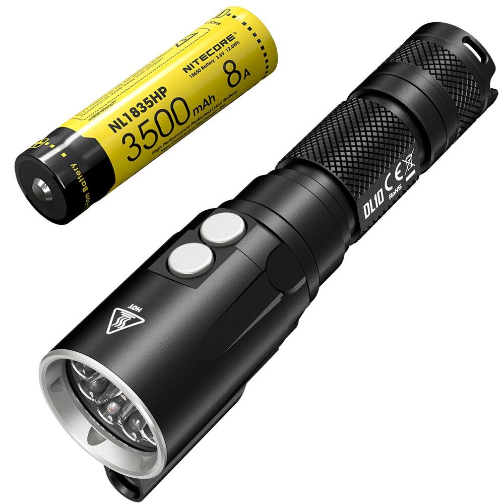 Topsale NITECORE DL10 lumière de plongée 1000LM CREE XP-L HI V3 lampe de poche LED 18650 batterie sous-marine étanche torche livraison gratuite