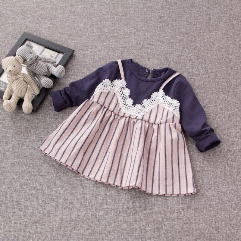 Autumn Cotton Infant Baby Long Sleeve Patchwork Lace Striped Princess Party Girls Dress Kids Clothes vestido