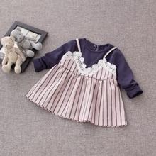 Autumn Cotton Infant Baby Long Sleeve Patchwork Lace Striped Princess Party Girls Dress Kids Clothes vestido infantil