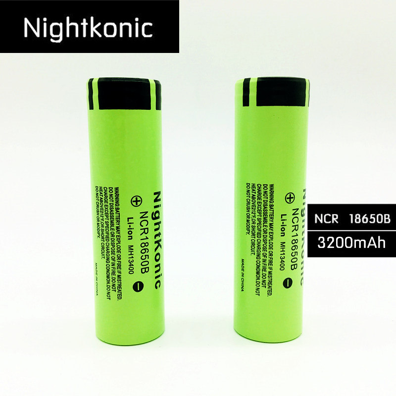 10 Pieces Nightkonic New Original NCR18650B 3. 7v 3200 mah 18650 Lithium Rechargeable Battery For Flashlight battery  Flat top