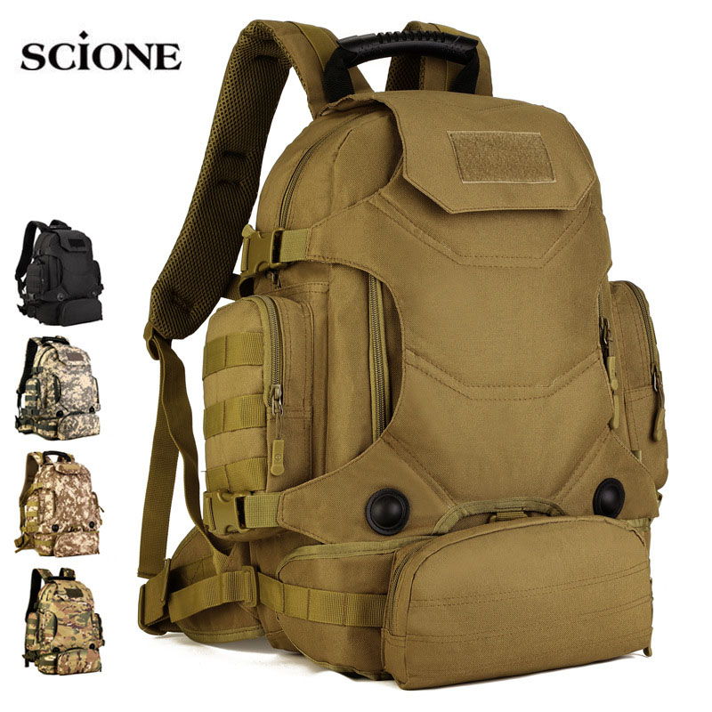 40L 2 Set Travel Bags Tactical Backpack Camping Bag Military Backpacks Hiking Men s Outdoor Sports