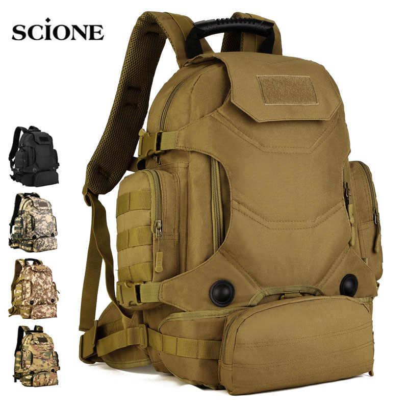 40L 2 ensemble sacs de voyage sac à dos tactique sac de Camping sacs à dos militaires randonnée hommes Sports de plein air sac à dos + sac de taille XA612WA