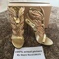 Venta caliente de las mujeres sandalias de tacón alto de oro de la llama gladiador sandalia zapatos de fiesta vestido de mujer zapatos de charol zapatos de tacón alto