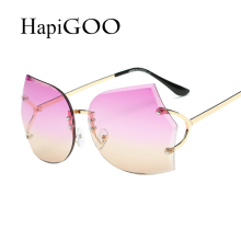 HapiGOO Vintage Fashion Rimless Gradient Sunglasses Women Brand Designer Cutting Lens Sunglasses Female