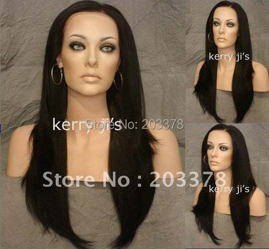 """24"""" Synthetic Black Brown #2 Long Lace Front Wig Wigs with Slight Body and Layers free shipping"""