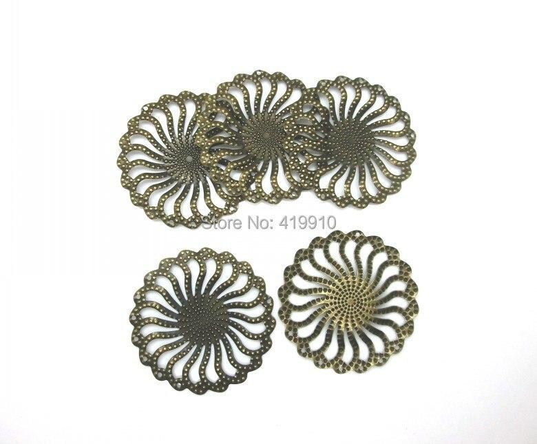 Free shipping-30Pcs Bronze Tone Filigree Wraps Flower Connectors Metal Crafts Gift Decoration DIY Findings 5x5cm J0571