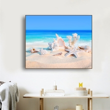 Laeacco Canvas Seaside Painting Calligraphy Posters Prints Beach Starfish Shell Wall Art Picture Living Room Kitchen Home Decor