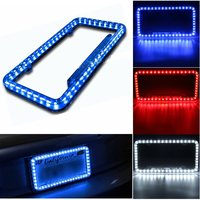 Universal Blue White Red Car 54LED Lighting Acrylic Plastic License Plate Cover Frame