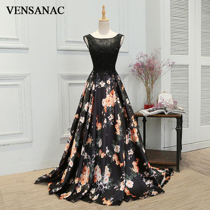 VENSANAC 2018 A Line Embroidery O Neck Long Evening Dresses Lace Party Elegant Floral Print Sweep Train Prom Gowns