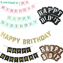 Glitter Happy Birthday Bunting Banner Gold Letters Happy Birthday Garlands String font b Baby b font