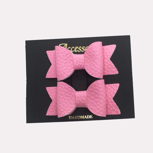 2 pcs. Matching Faux Leather Hair Bow Set