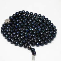 Romantic black cultured freshwater pearl 8 9mm natural round beads classic trendy long chain necklace jewelry 50inch B1474