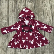Fall/winter 2-color baby girls children clothes cotton reindeer grey wine hooded top dress boutique outfits coat Claw button