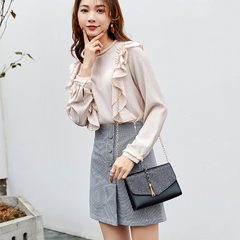 Hot Selling Women Solid Color Waterproof Shoulder Bag With Tassel Adjustable Metal Chain -B5