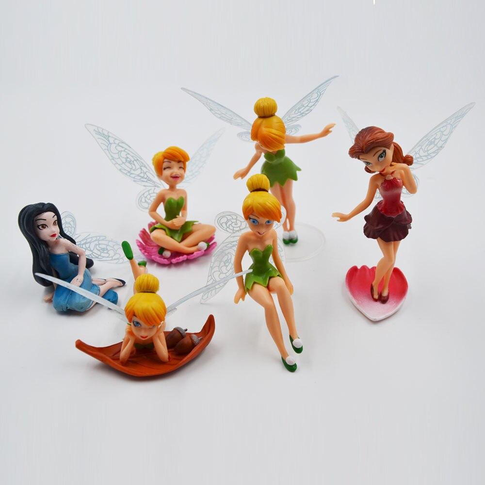 Disney Hot Kids Toys 9 Cm Tinkerbell 6 Pcs /Set Cartoon Princess ...