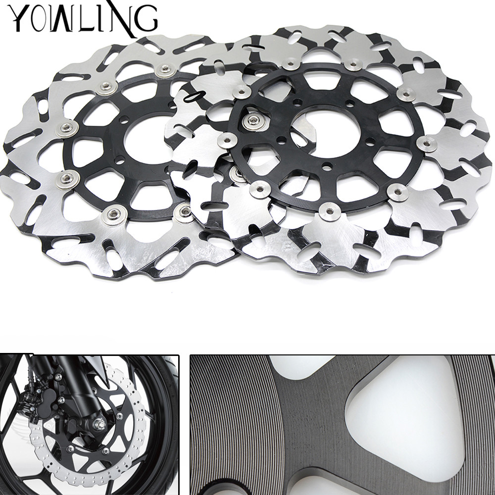High quality Motorcycle Front Floating Brake Disc Rotor for Suzuki GSXR1000 GSXR 1000 GSX-R1000 K5 2005 K6 2006 K7 2007 K8 2008 abs motorcycle parts for suzuki gsxr 1000 k7 k8 07 08 fairing kit gsxr1000 2007 2008 white silver black fairings set js87