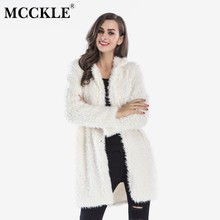 MCCKLE Women's Fluffy Faux Fur Long Coat 2018 Autumn Winter Female Long Sleeve Warm Outwear Ladies Plush Casual Thick Overcoat(China)