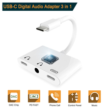 Type C to 3.5mm Aux Jack USB port Digital Audio Converter with c charge Cable Adapter for Most type devices