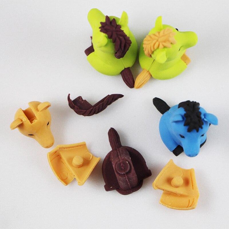 Купить с кэшбэком 1pcs cute Cartoon lovely pony eraser children Learning stationery kawaii school supplies papelaria gift for kids