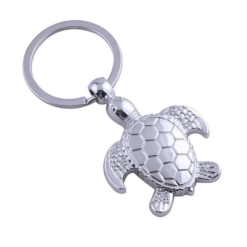 NºPlateado tortuga llaveros anillo animal aleación llavero mujeres ...