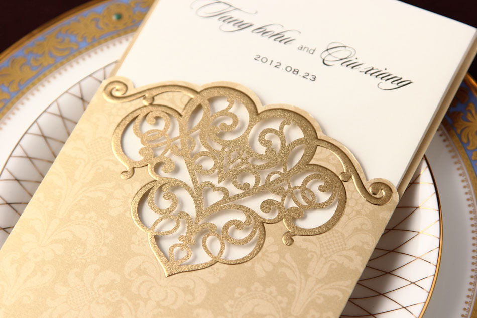 2014 New Arrival,Golden Elegant Hollow Pattern Heart Design Wedding ...