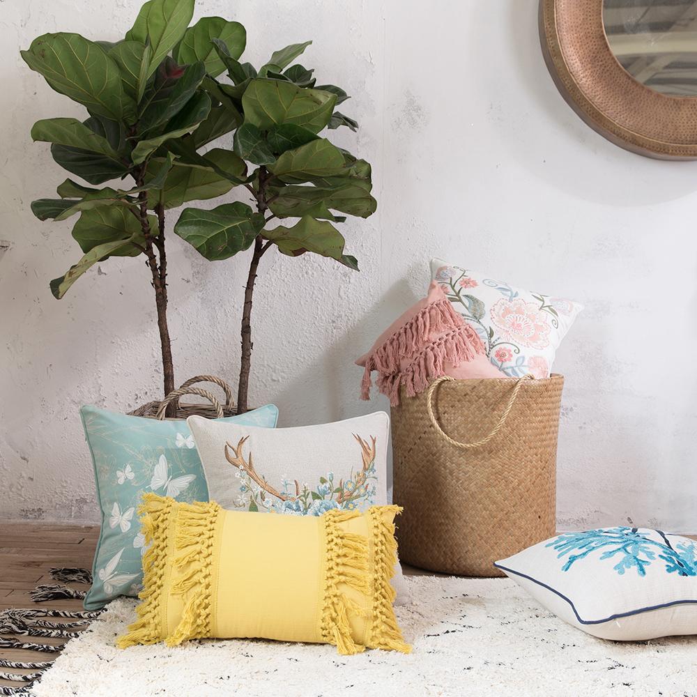 2PC Modern Embroidered Pillows Cushion Pastoral Fresh Rectangle Square Waist Cushions Pillow With Inner Core Insert
