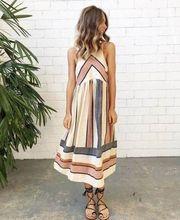 Hot Sale Brand New Women Summer Dress Plus Size O Neck Sleeveless Long Dress Boho Beach Print Stripe A Line Dresses Vestido цена