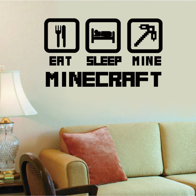 4044 Cheap Home Decoration Minecraft Wall Sticker Removable Vinyl House Decor Game Decals in Net Bar Shop and Bedroom