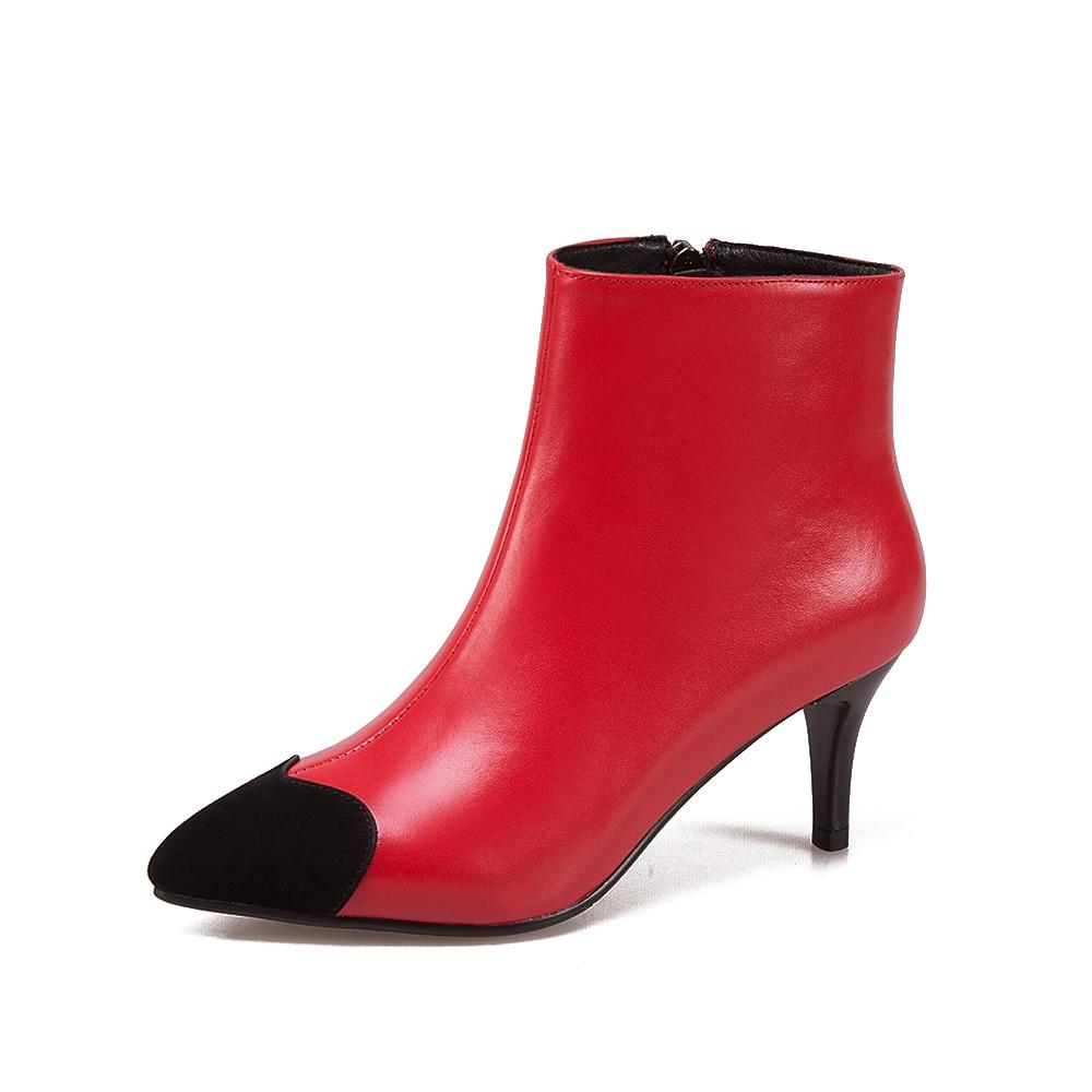 Zapatos Negro Las Moda Vaca Otoño Piedras Piel 43 Preciosas De Botines Cremallera Botas 100 2018 34 Tamaño Cuero rojo Mujeres Europeo OqqHxXzwZ