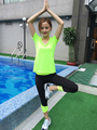 Cool color block fitness running sweat absorbing quick-drying sports trousers female high-elastic women's pants JX474